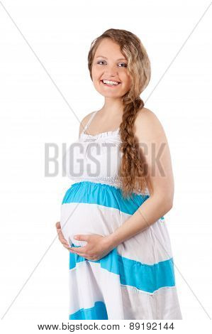 Portrait Of Beautiful Pregnant Woman, Isolation