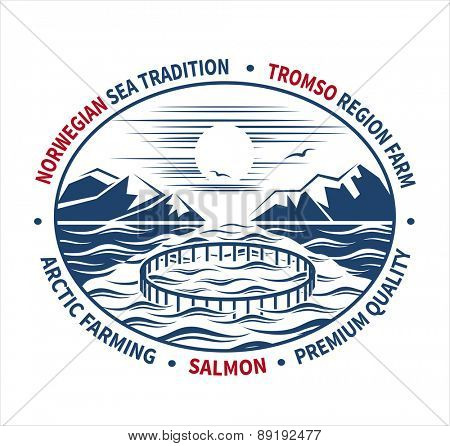 Fish farming label. Vector illustration.