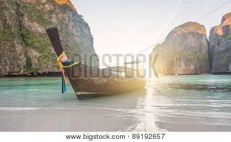 Long Tail Boat In Maya Bay , Thailand