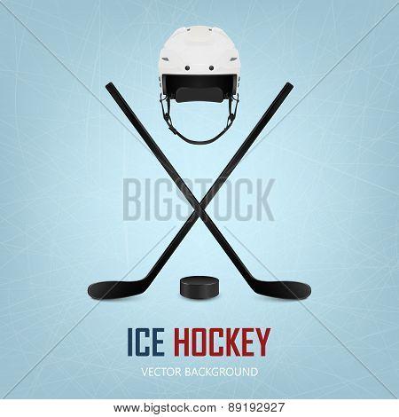Ice hockey helmet, puck and crossed sticks on ice rink.