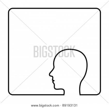 human head contour outline frame icon design