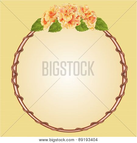 Round Frame With Yellow Hibiscus Vector