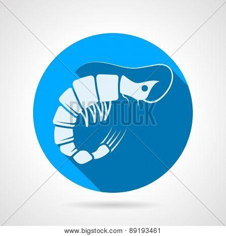 Shrimp flat round vector icon
