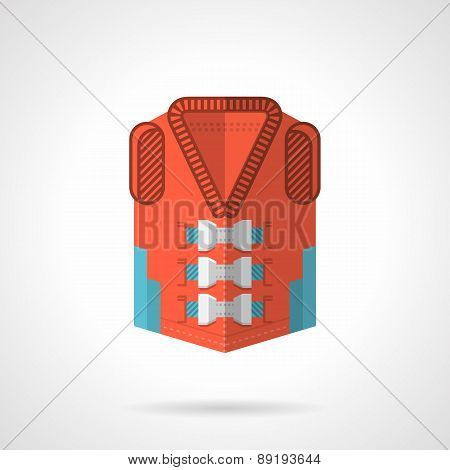 Red rescue jacket flat vector icon