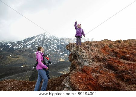 Mother With Her Children On Mount Etna