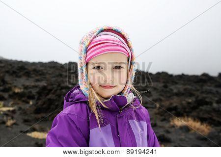 Girl Enjoying Herself On Lava Fields Of Mount Etna