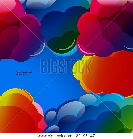 Abstract background with colorful illuminated clouds in the blue sky.