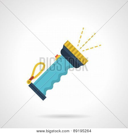 Blue flashlight flat vector icon