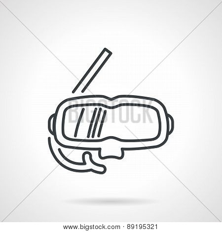 Snorkeling mask black line vector icon