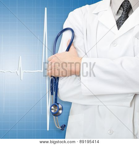 Doctor With Stethoscope In Hand And Electrocardiogram On Blue Background