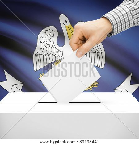 Voting Concept - Ballot Box With National Flag On Background - Louisiana