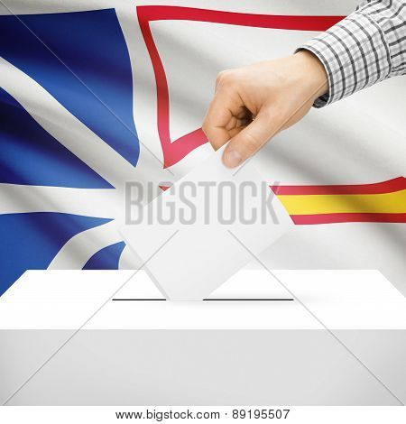 Voting Concept - Ballot Box With National Flag On Background - Newfoundland And Labrador