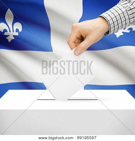 Voting Concept - Ballot Box With National Flag On Background - Quebec