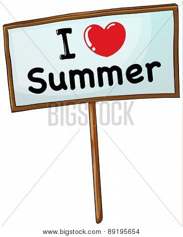 I love summer sign in wooden frame