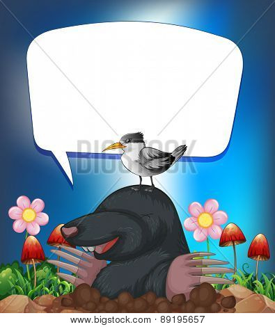 Groundhog and bird with speech bubble