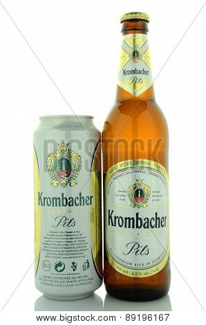 Krombacher pils beer isolated on white background