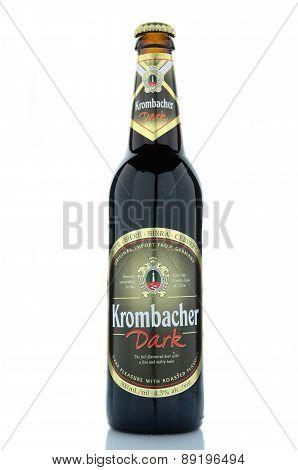 Krombacher dark  beer isolated on white background