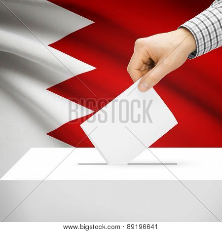 Voting Concept - Ballot Box With National Flag On Background - Bahrain