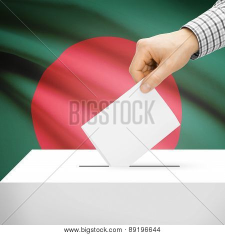 Voting Concept - Ballot Box With National Flag On Background - Bangladesh