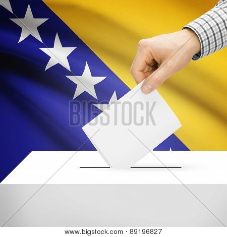 Voting Concept - Ballot Box With National Flag On Background - Bosnia And Herzegovina