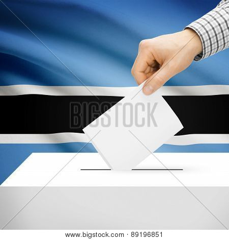 Voting Concept - Ballot Box With National Flag On Background - Botswana