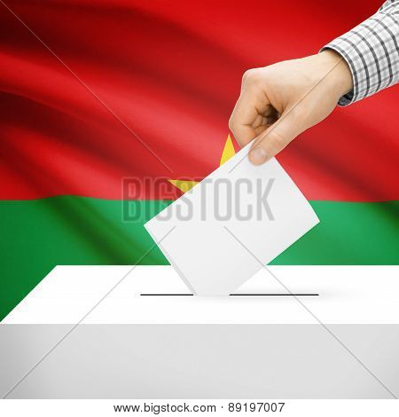 Voting Concept - Ballot Box With National Flag On Background - Burkina Faso