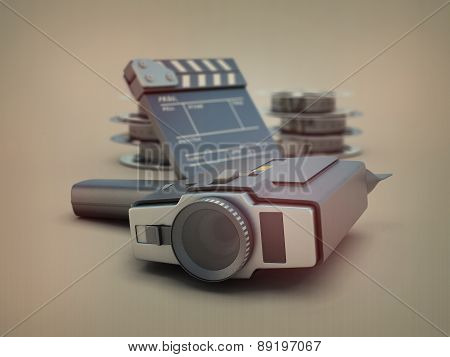 Vintage Movie Camera On The Background Of Films