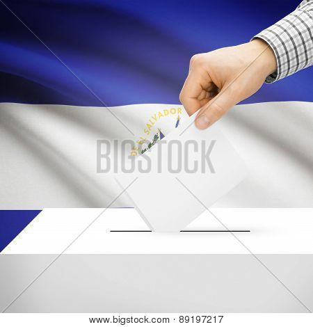 Voting Concept - Ballot Box With National Flag On Background - El Salvador
