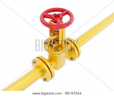 Gas Pipeline With Red Valve