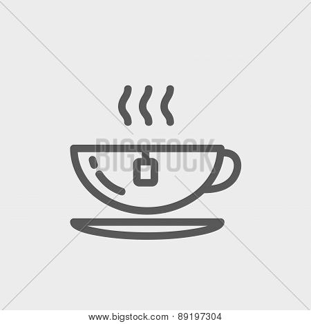 Hot tea in a cup thin line icon