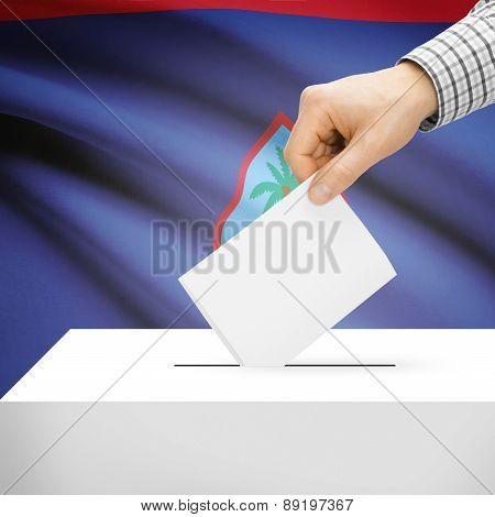 Voting Concept - Ballot Box With National Flag On Background - Guam