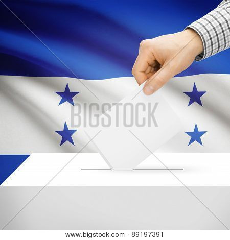 Voting Concept - Ballot Box With National Flag On Background - Honduras