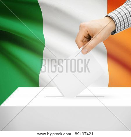 Voting Concept - Ballot Box With National Flag On Background - Ireland