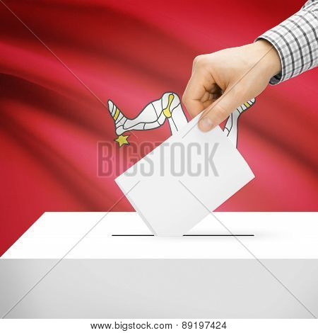 Voting Concept - Ballot Box With National Flag On Background - Isle Of Man