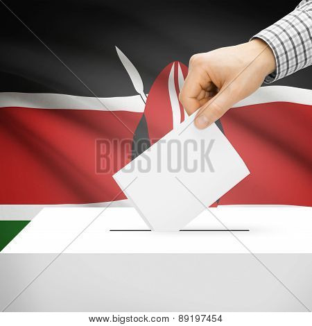 Voting Concept - Ballot Box With National Flag On Background - Kenya