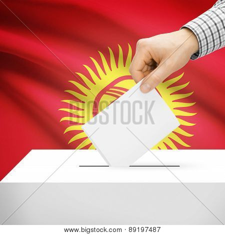 Voting Concept - Ballot Box With National Flag On Background - Kyrgyzstan