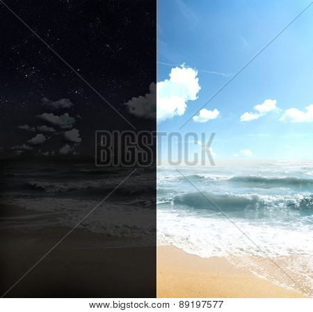 Dayand night on beach with sea
