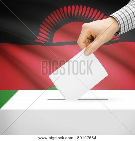 Voting Concept - Ballot Box With National Flag On Background - Malawi