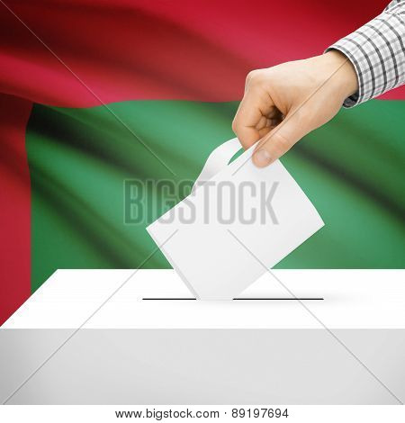Voting Concept - Ballot Box With National Flag On Background - Maldives