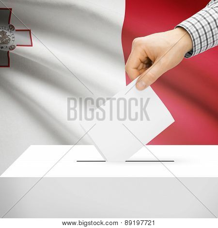 Voting Concept - Ballot Box With National Flag On Background - Malta