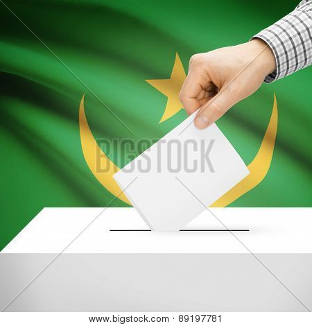 Voting Concept - Ballot Box With National Flag On Background - Mauritania