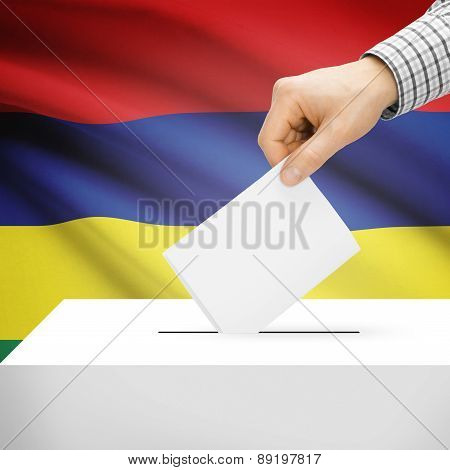 Voting Concept - Ballot Box With National Flag On Background - Mauritius