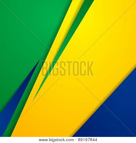 Bright abstract background in Brazilian colors. Vector design