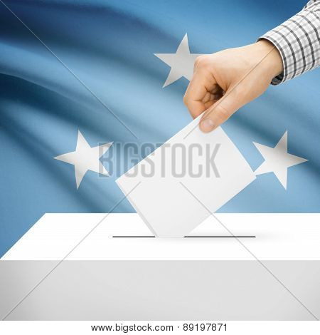 Voting Concept - Ballot Box With National Flag On Background - Federated States Of Micronesia