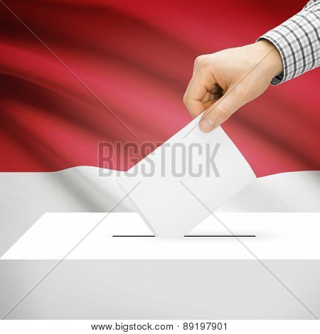 Voting Concept - Ballot Box With National Flag On Background - Monaco