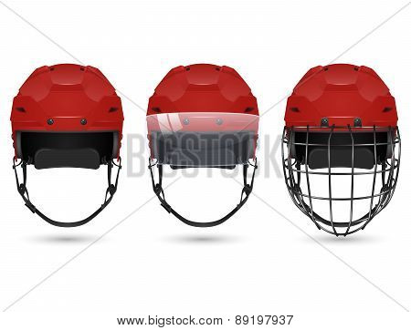 Red hockey helmet in three varieties
