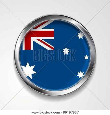 Abstract vector button with metallic frame. Australian flag