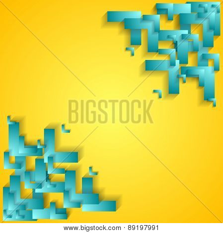 Corporate technology yellow background with cyan arrows. Vector concept design