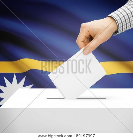 Voting Concept - Ballot Box With National Flag On Background - Nauru