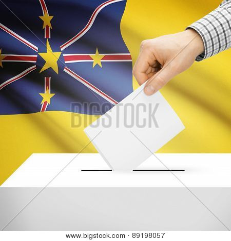 Voting Concept - Ballot Box With National Flag On Background - Niue